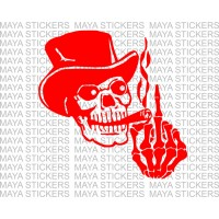 Smoking skull with middle finger decal sticker