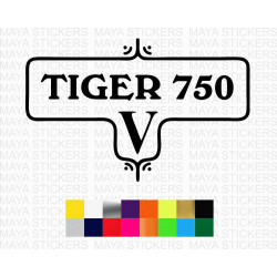 Vintage style Triumph Tiger 750 logo sticker for bikes and helmets