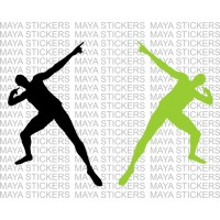 Usain bolt signature style pose decal sticker (Pair of 2, custom colors)