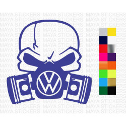 Volkswagen Skull and piston decal car stickers
