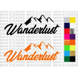Wanderlust mountain design decal sticker for bikes, cars, laptops