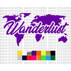 Wanderlust world map design sticker for cars, motorcycles and laptops
