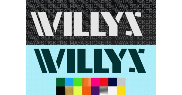 WILLYS Jeep decal sticker in custom colors and sizes