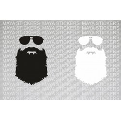 Beard with Glasses sticker for Cars, Bikes & Laptop. Pair of 2 Stickers