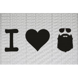I love Beard with aviator glasses sticker for cars, bikes, laptop