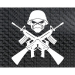 Crossed guns and skull sticker / decal for cars, bikes, laptop