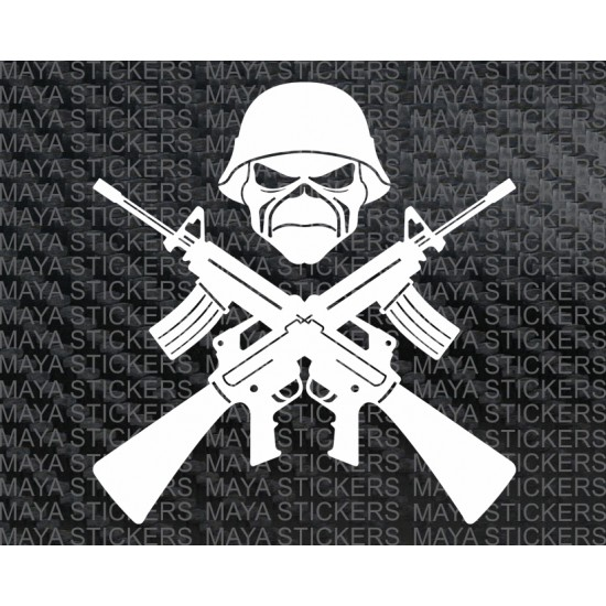 Crossed Guns And Skull Iron Maiden Sticker Decal For