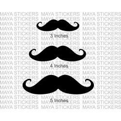 Mustache / Mooch sticker combo pack of 3 stickers in 3 sizes.