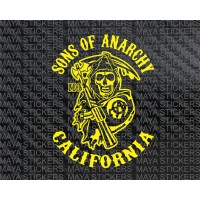 Sons of Anarchy California Reaper logo sticker / decal for Bikes, laptops