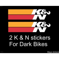 K and N (k&n) die cut Sticker / decal for Bikes and Cars (Pair of 2 Stickers )