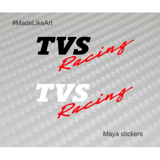 Pair Of 2 Tvs Racing Logo Stickers For Apache Rtr Helmets And