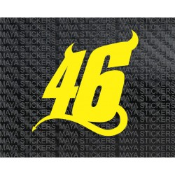Valentino Rossi 46 number with devil horns vinyl decal stickers