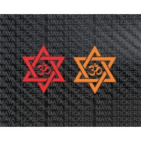 Om sticker with unique star design for cars, bikes, scooty, laptops (2 Stickers)