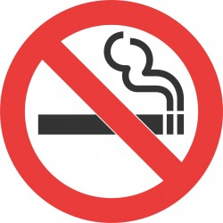 No smoking sign - Round shape, large 5 inches size