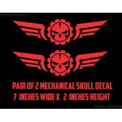 Mechanical skull with wings vinyl decal / sticker for bikes and Cars (Pair of 2)
