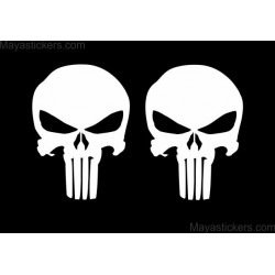 Punisher skull sticker decal for bikes, cars, laptop (Set of 2 Skull stickers ) custom colors available