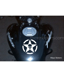 Skull in star sticker for Bajaj Pulsar fuel tank