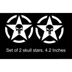 Skull in military star sticker - Pair of 2 stickers -