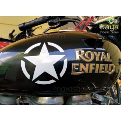 Stencil style star decal sticker  for bikes, cars, royal enfield
