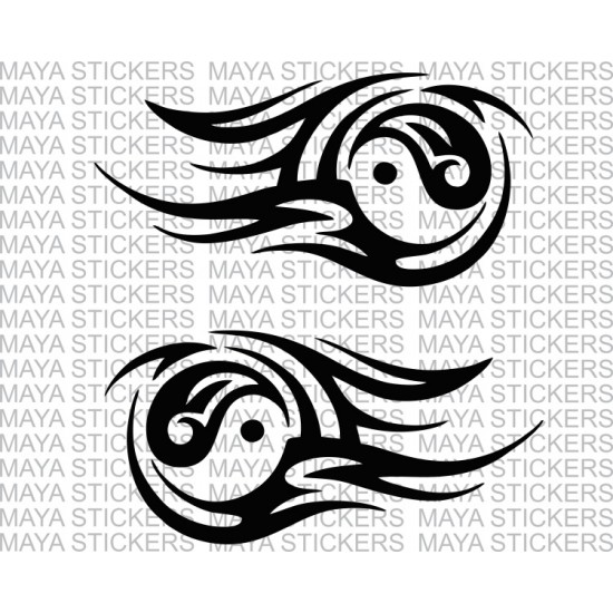 Ying Yang tribal design sticker decal for bikes, cars, laptop (2 flipped  stickers)