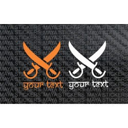 Crossed sword sticker with your custom name