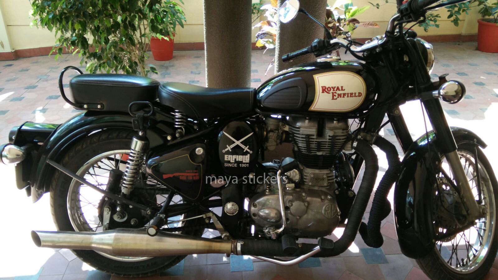 Crossed sword sticker on royal enfield classic 350 black